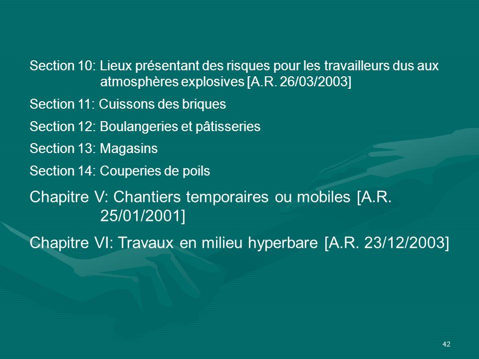 Chapitre V: Chantiers temporaires ou mobiles [A.R. 25/01/2001]